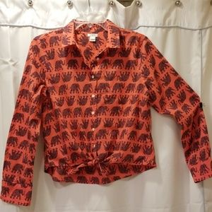 J. Crew tie at the waist long sleeve blouse Size M